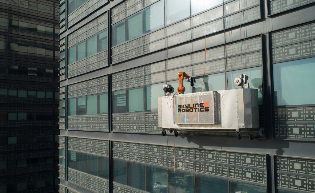 Skyline Robotics High Rise Window Cleaning Robot Working